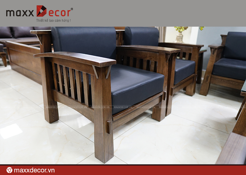 Sofa gỗ tự nhiên hiện đại cao cấp 161 - maxxDecor cực kỳ sang trọng - 2