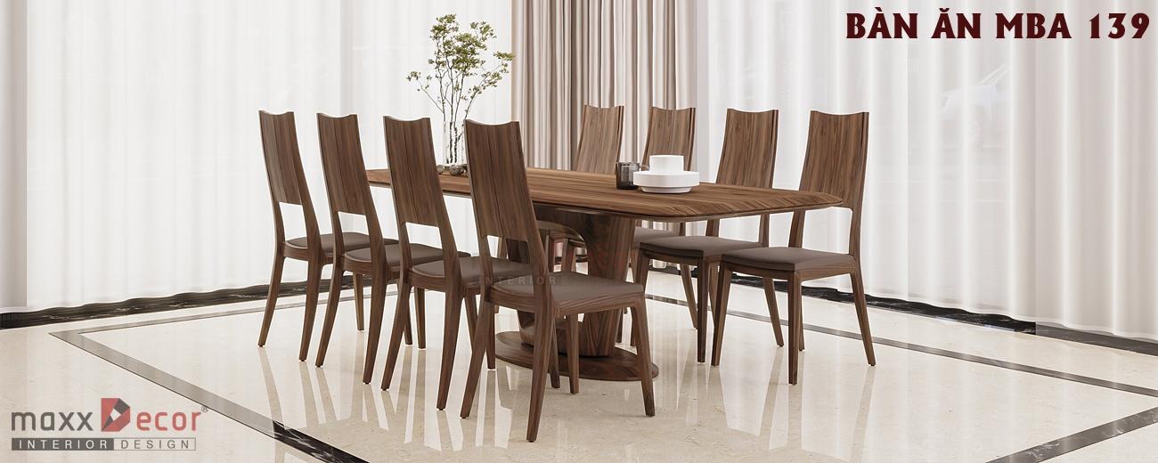 Mẫu bàn ghế ăn gỗ tự nhiên MBA 139