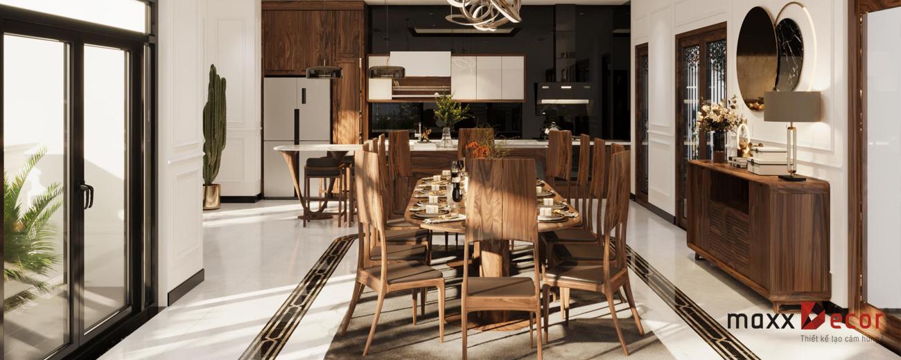 Không gian nội thất phòng ăn gỗ óc chó